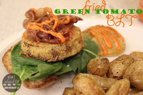 fried green tomato blt with spinach words